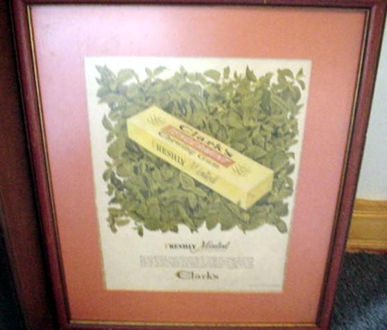 Clark's Gum Ad 1947 Framed Size 16