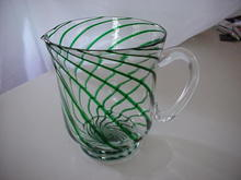 Large Green Striped Glass Pitcher