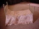 Vintage Doll Bed and Satin Coverlet