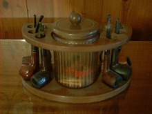 Vintage Pipe Stand Glass Jar and 6 Pipes