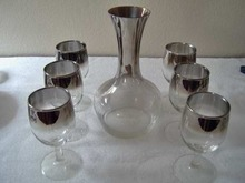 Vintage Silver Lusterware Decanter and 6 Wines