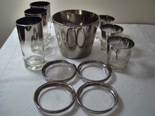 Vintage Silver Lusterware Ice Bucket 6 Glasses