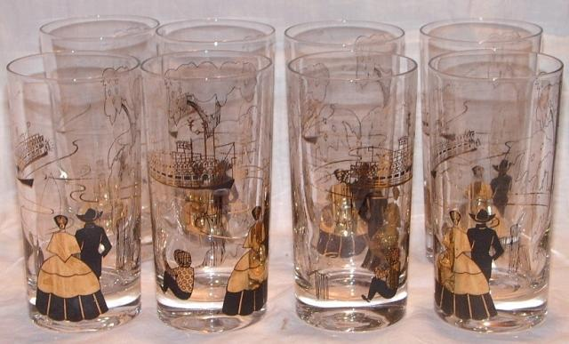Barware Mississippi River Scenes Gold and Black