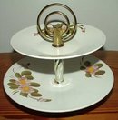 Vintage Tidbit Tray Two Tier Hand Painted Metal