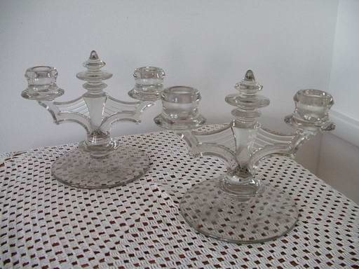 Antique Double Light Candlesticks Etched
