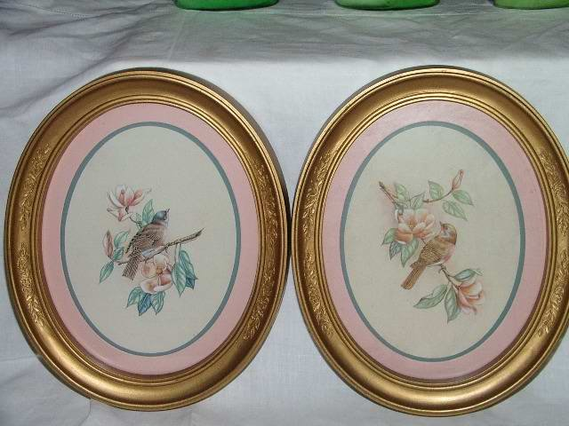 Vintage Home Interior Bird Pictures Oval Frames