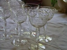Etched Blown Stems Set of 8 Libbey