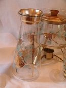 Vintage Libbey with Pine Cones Gold and