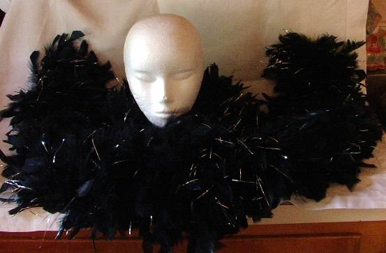 Feather Boa Full Length Black with Silver