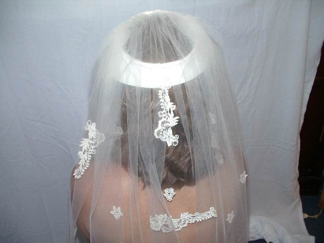 Vintage Wedding Veil Satin And Lace