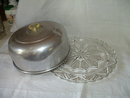 Vintage Aluminum Covered Cake Plate With Bakelite Handle