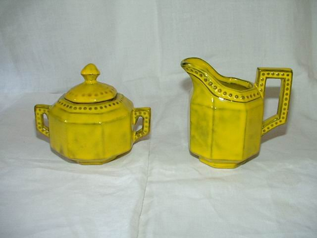 Vintage Yellow Sugar And Creamer Set