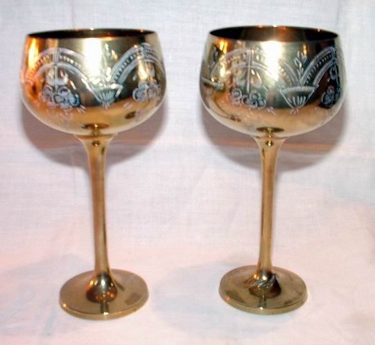 Electroplated Etched Goblets Pair
