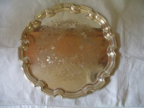Crafton Etched Silverplate Tray England