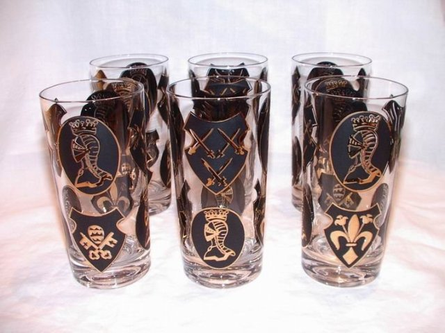 Vintage Black and Gold Bar Glasses with Knights
