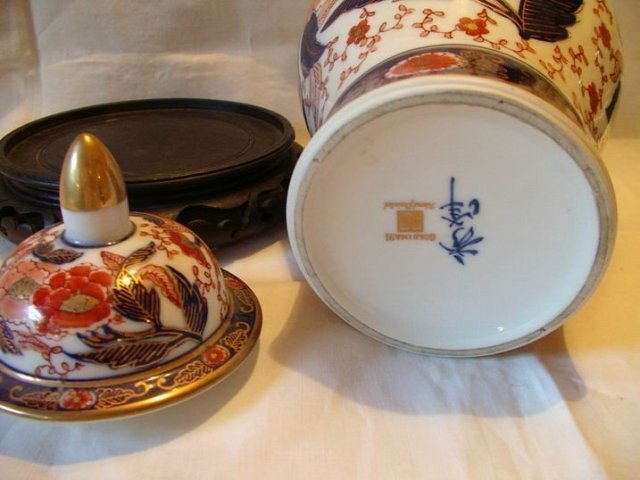 Ginger Jar and Stand Goldamare Handpainted