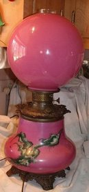 Gone With The Wind Style Lamp Pink with Bird