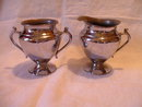 Vintage Chrome on Copper Cream and Sugar Set