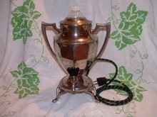 Coffee Pot Samovar Nickel Plate with Milk Glass