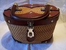 Straw Purse with Leather Trim