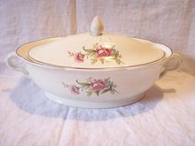 Vintage Covered Serving Dish Wild Rose