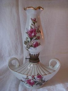 Moss Rose Japan Oil Lamp 10 3/4 Inches Tall
