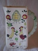 Handpainted Pitcher Roosters Not Marked