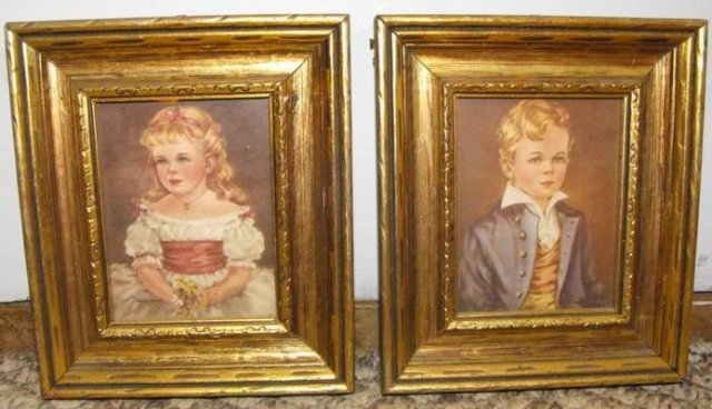 Pair of Old Framed Pictures Marian and Robert