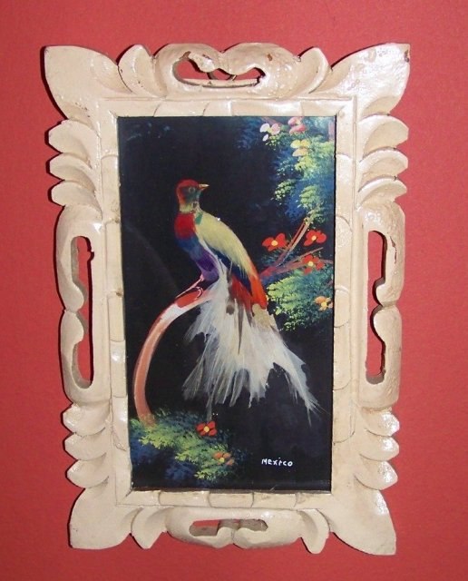 Vintage Mexican Feather Painting Birds Trees Flowers