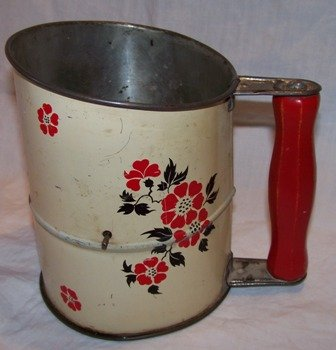 Vintage Sifter with Red Flowers
