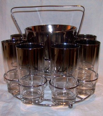 Lusterware Bar Set Ice Bucket and 8 Glasses