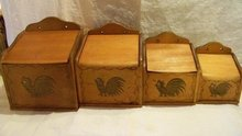 Vintage Wood Canister Set Roosters Japan