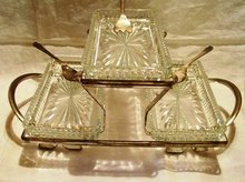 Relish Server Silver Plate and Crystal