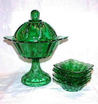 Green Covered Compote and Five Bowls