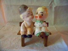 Kissing Policeman and Lady Salt and Pepper Japan