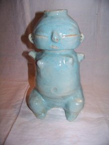 Blue Pottery Vase or Jug Signed