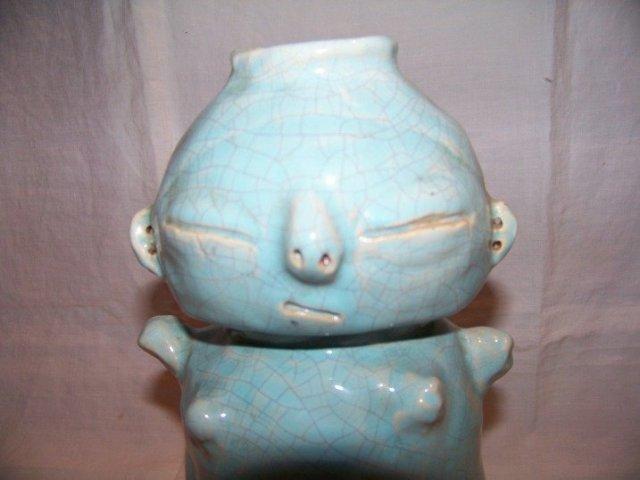 Blue Pottery Vase or Jug Signed