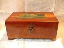 Vintage Cedar Box with Lock Key and Mirror
