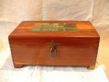 Vintage Cedar Box with Lock Key and Mirror