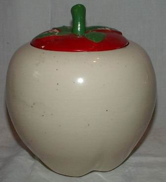 Pottery Apple Cookie Jar
