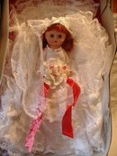Vintage Bride Doll 13 Inch Red Hair