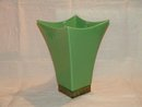 Vase Large Green Pottery Brass Trim