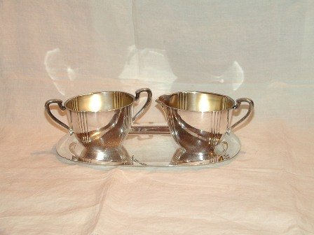 Silverplate Wm. Rogers Cream Sugar and Tray