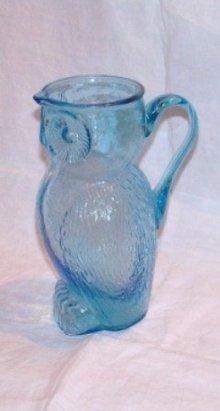 Owl Pitcher Kanawha Glass Aqua Blue