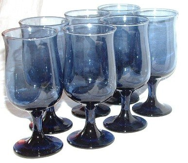 Libbey Dusky Blue in Tulip Pattern 7 Stems