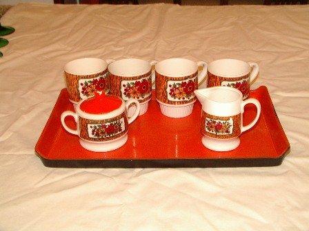 Vintage Coffee Set Orange Floral Design Japan