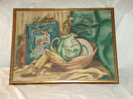 Old Watercolor Still Life Signed Twinkle
