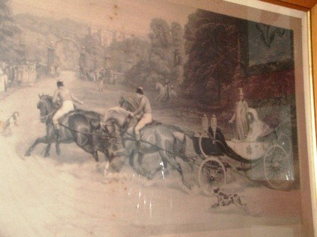Antique Print Large Royalty Returning Home