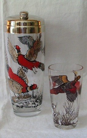Hazel Atlas Pheasants Cocktail Shaker and Glass