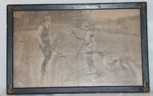 Antique Picture of Hunters and Dog